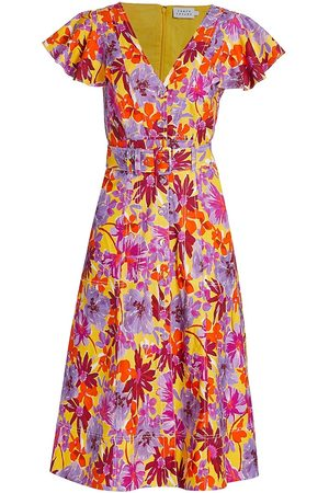 TANYA TAYLOR Women's Inez Belted Floral Midi Dress - Multi - Size 14