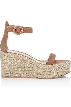 Gianvito Rossi Women's Portofino Suede Platform Wedge Espadrille Sandals - Praline Naturale - Size 11