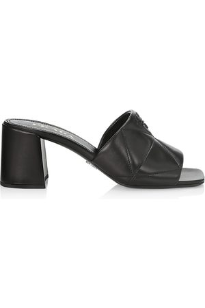 Prada Women's Quilted Leather Mules - Nero - Size 11