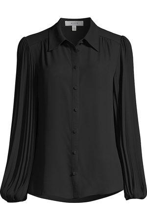Milly Women's Plissé Pleat-Sleeve Blouse - - Size Medium
