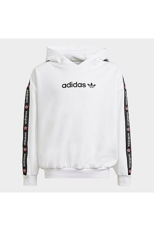 adidas Girls' Originals Taped Logo Pullover Hoodie Size Small Cotton/Polyester/Fleece