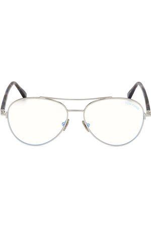 Tom Ford Men's 55MM Round Block Optical Glasses - Shiny Havana Lens