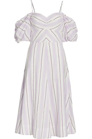 TANYA TAYLOR Women's Ramona Off-The-Shoulder Stripe Dress - Orchid Multi Stripe - Size 14
