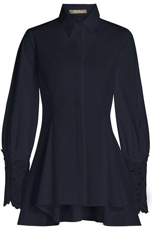 LELA ROSE Women's Embroidered Eyelet Poplin Shirt - Navy - Size 14