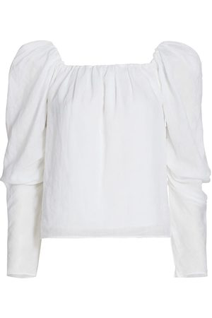 Frame Women's Off-The-Shoulder Billow Top - Blanc - Size XL