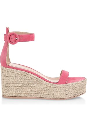 Gianvito Rossi Women's Portofino Suede Platform Wedge Espadrille Sandals - Ruby Rose Naturale - Size 9.5