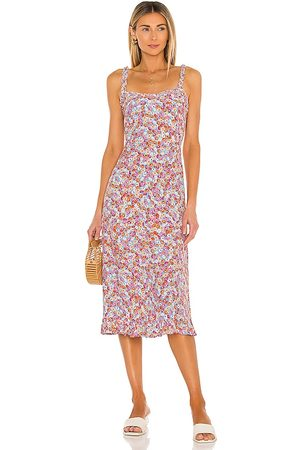 FAITHFULL THE BRAND Noemie Midi Dress in Pink,Orange.