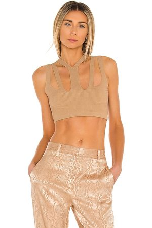 DION LEE Lustrate Fork Crop Top in Tan.