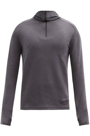 Cafe du Cycliste Men Sports Hoodies - Berthe Wool-blend Hooded Cycling Top - Mens - Grey