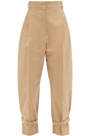 Alexander McQueen Buckled Tailored Cotton Trousers - Womens - Camel