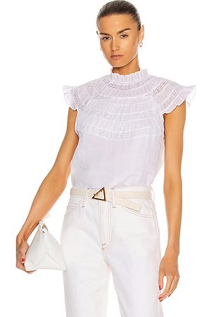 Frame Women Short sleeves - Lace Inset Short Sleeve Top in