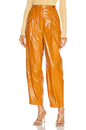 REMAIN Cleo Leather Pant in Orange