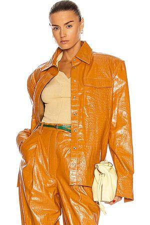 REMAIN Carina Leather Shirt Jacket in Orange