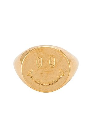 Martha Calvo Women Rings - Smiley Face Signet Ring in Metallic .