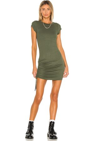 LA Made Indie Cinched Cap Sleeve Dress in Olive.