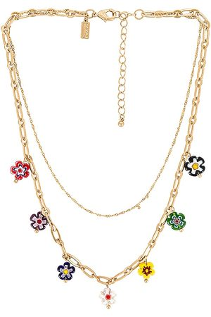 8 Other Reasons Flower Layered Necklace in Metallic Gold.