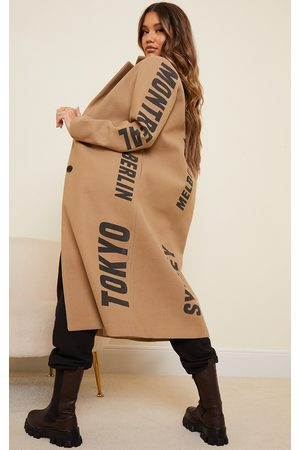 PRETTYLITTLETHING Camel Long Line Printed Coat