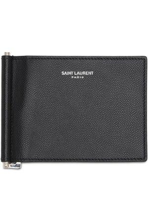 Saint Laurent Men Wallets - Logo Leather Bill Clip Wallet