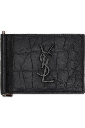 Saint Laurent Men Wallets - Monogram Embossed Bill Clip Wallet