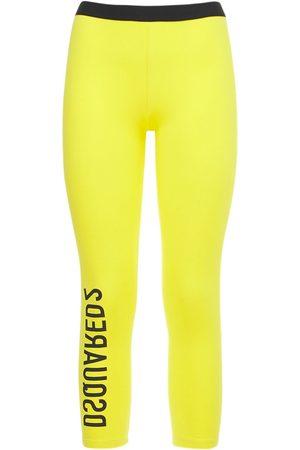 Dsquared2 Women Leggings - Logo Stretch Cotton Crop Leggings
