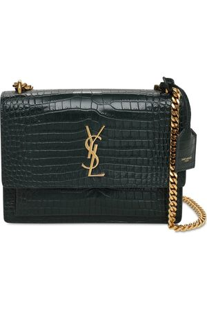 Saint Laurent Medium Sunset Croc Embossed Leather Bag