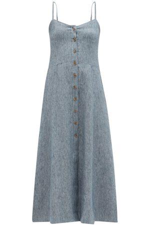 Three Graces London Bonita Linen-denim Midi Dress - Womens - Light