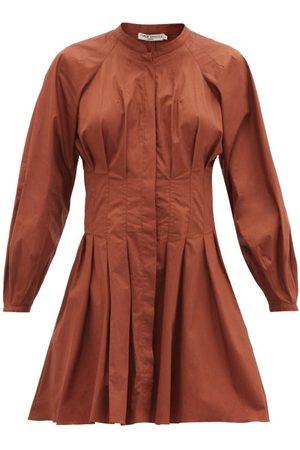Three Graces London Viola Pleated Cotton-poplin Mini Dress - Womens