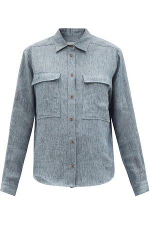 Three Graces London Women Denim - Willow Chest-pocket Linen-denim Shirt - Womens - Light