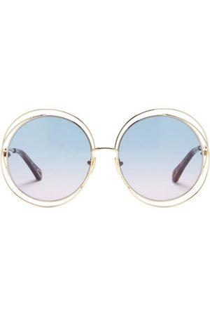 Chloé Carlina Oversized Round Metal Sunglasses - Womens