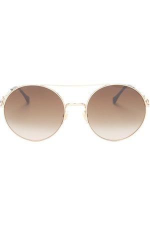 Gucci Horsebit Aviator Metal Sunglasses - Womens - Multi