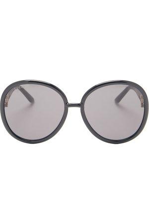Gucci Horsebit-chain Oversized Round Acetate Sunglasses - Womens