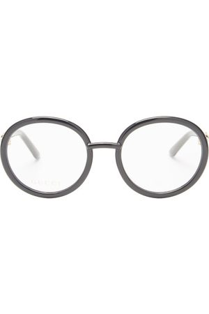 Gucci Horsebit-chain Round Acetate Glasses - Womens