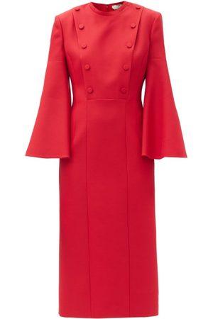 Fendi Double-breasted Wool-blend Twill Pencil Dress - Womens