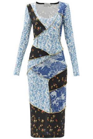 THORNTON BREGAZZI Jun Patchwork Floral-print Crepe Dress - Womens - Multi