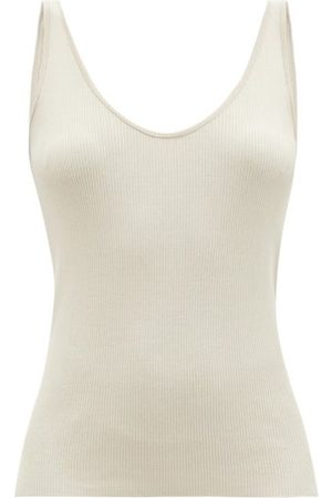 CO Sop-neck Ribbed-silk Tank Top - Womens - Light