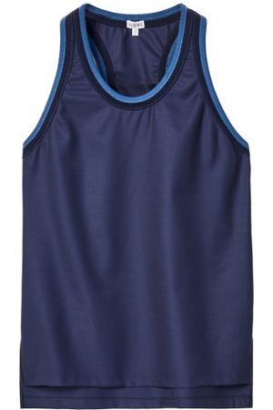 Loewe Round-neck Wool-twill Tank Top - Womens - Navy