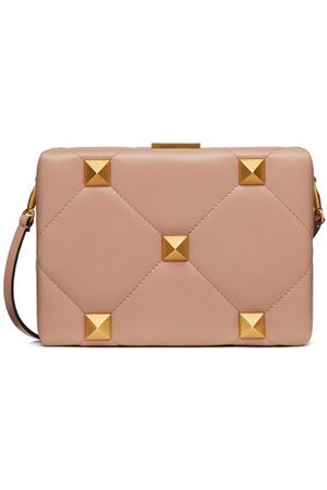 VALENTINO GARAVANI Women Clutches - Roman Stud Quilted-leather Clutch Bag - Womens - Nude
