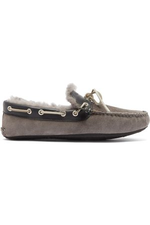 Quoddy Men Slippers - Fireside Suede And Shearling Slippers - Mens - Grey