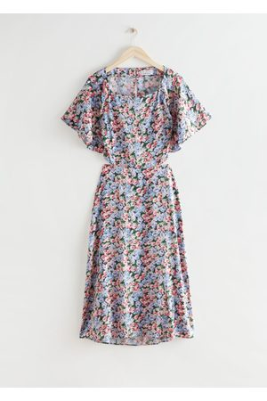 & OTHER STORIES Floral Print Cut Out Midi Dress