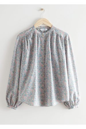 & OTHER STORIES Women Blouses - Printed Collarless Button Up Blouse