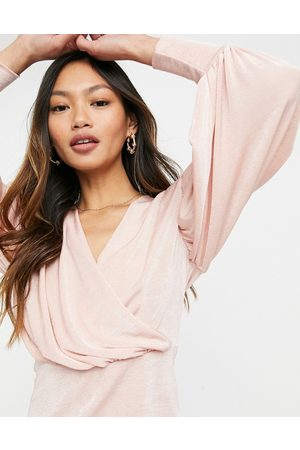 Closet Women Wrap tops - Wrap blouse top with volume sleeves in blush
