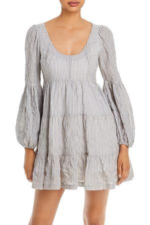 Cinq A Sept Rose Striped Tiered Mini Dress