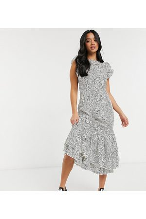 Chi Chi London Reese ruffle day dress in polka dot