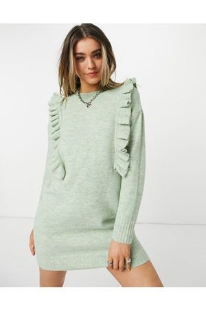 JDY Knitted mini dress with ruffle detail in