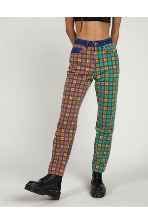The Ragged Priest Mom jeans in mixed plaid-Multi