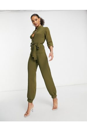 I saw it first Button front utility jumpsuit in khaki