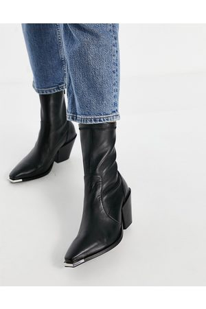Office Ashen western ankle boots in leather