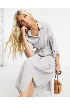 Gilli Tie waist midi dress in light -Grey