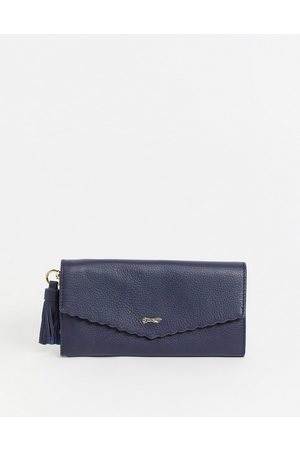 Paul Costelloe Women Wallets - Leather flap front wallet with scalloped edge in navy
