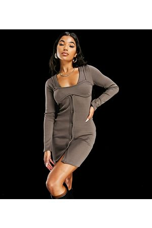 AsYou Button through cardigan dress with bra overlay in -Grey